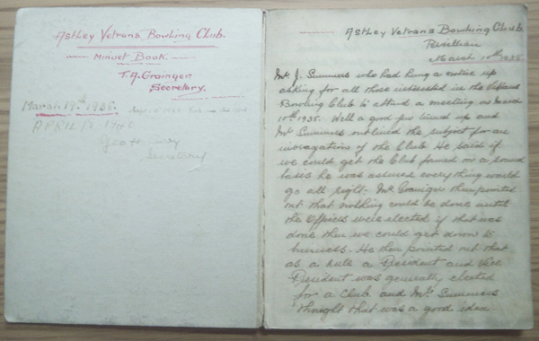 Historic minute book from 1938