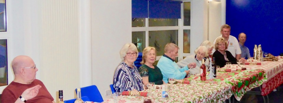 Next course please from front to back are Tom Sheenan, Sarah Johnson, Anne Clark, Doug Hagelburgh, Lily Lane, Anne Turner June gascoigne, Terence Carson and Joe Haslem